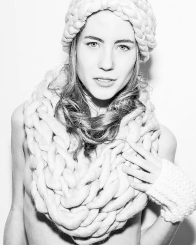 hand knit wool scarf garth headband kiss wisp