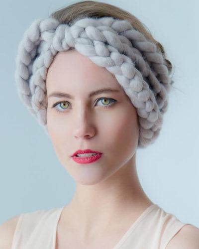 hand knit wool headband gisele wisp