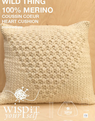 diy hand knit wool pillow cushion natural wisp