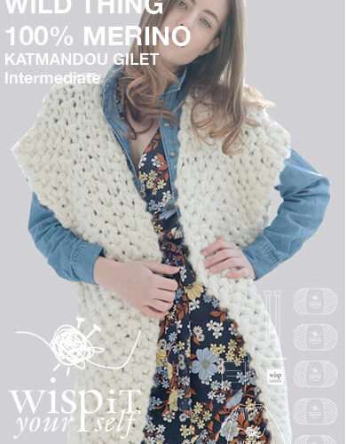 diy kit gilet katmandou hand knit wool wisp