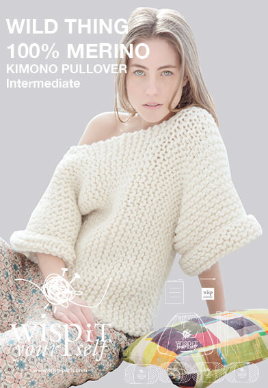 diy kit pullover kimono hand knit wool wisp