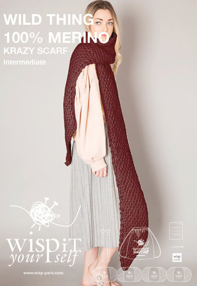diy kit scarf hand knit wool krazy wisp
