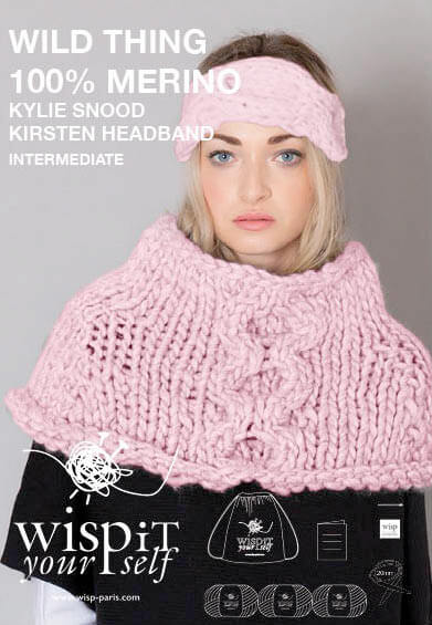 diy kit headband snood hand knit wool kylie kirsten wisp