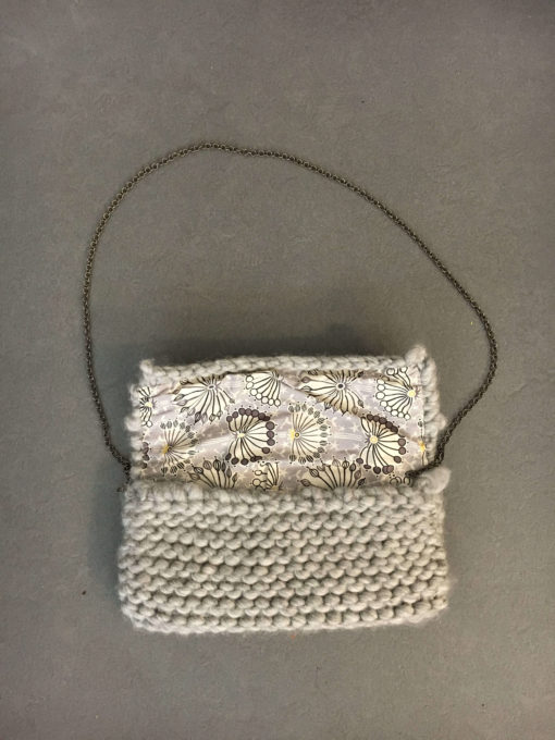 diy hand knit wool bag pouch natural wisp