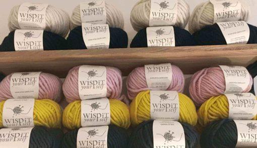 pink yellow and grey wild thing merino wool