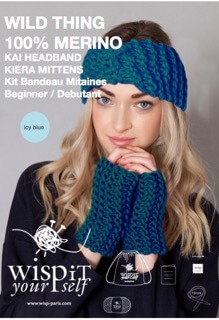 wool fingerless gloves headband hand knit diy kit icy blue wisp
