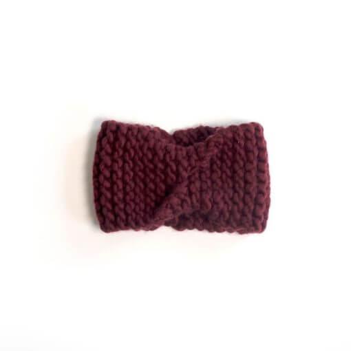 hand knit wool headband kendrick marsala wisp