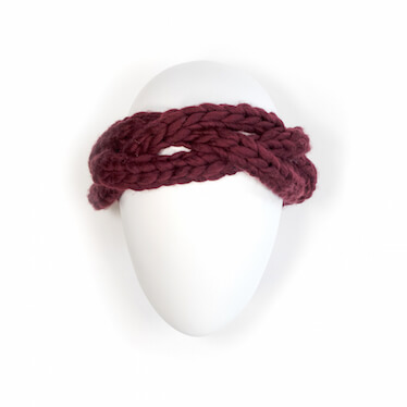 hand knit wool headband kinky marsala wisp