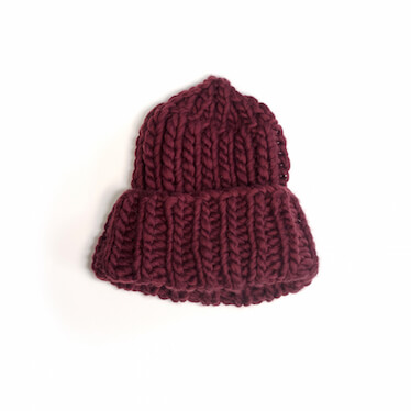 hand knit wool beanie hat jackie marsala wisp