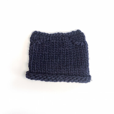 hand knit wool beanie hat kitty in the navy wisp