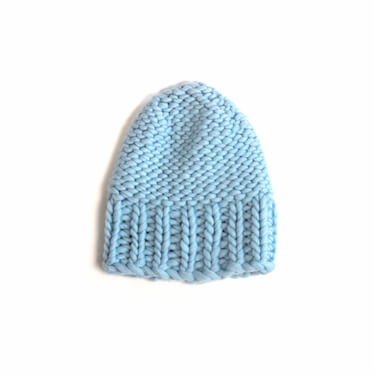 hand knit wool beanie hat kramer icy blue wisp