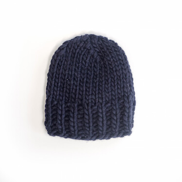 hand knit wool beanie hat kramer in the navy wisp