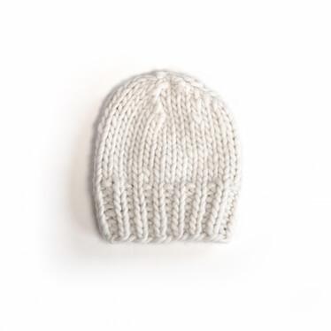 hand knit wool beanie hat kramer natural wisp