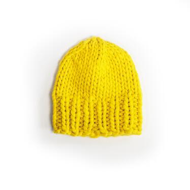 hand knit wool beanie hat kramer sunflower wisp