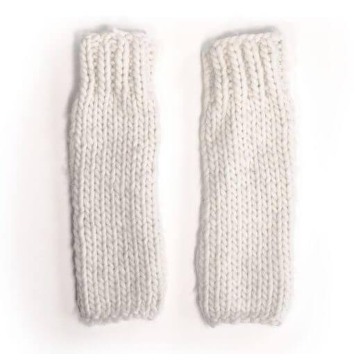 hand knit wool wrist leg warmers kick natural wisp