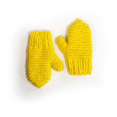 hand knit wool mitts katoucha sunflower wisp