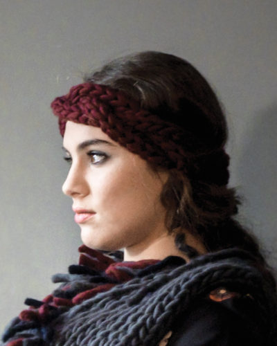 knitted headband wisp kinky marsala