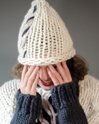 knitted stockinette hat with detail wisp james nat