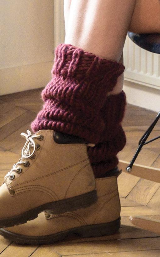 knitted legwarmers wisp kick marsala