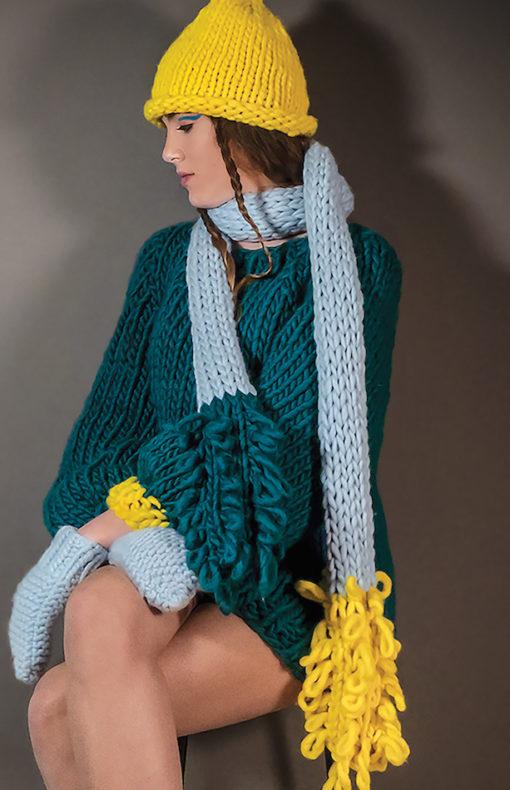 pull tricoté main en grosses côtes WISP