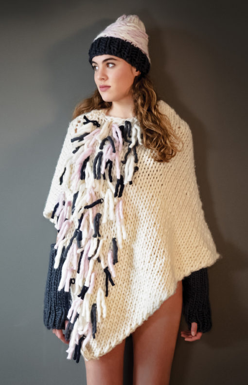 knitted poncho with tassels wisp jameroquai nat