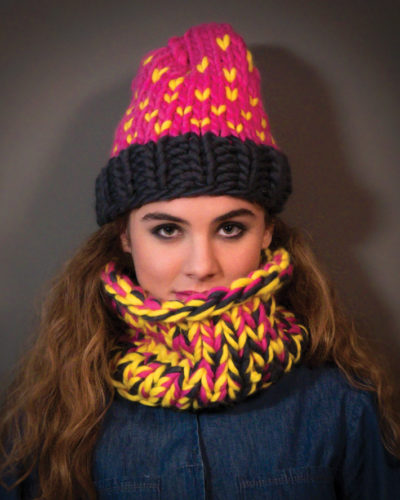 bonnet et col tricotés main laine mérinos